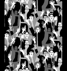 big crowd happy people black and white seamless vector image