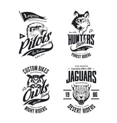 Bikers club t-shirt isolated logo set vector