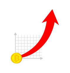 bitcoin price increase dynamics of course is vector image