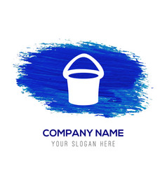 bucket icon - blue watercolor background vector image