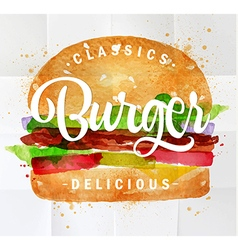 Burger watercolor vector