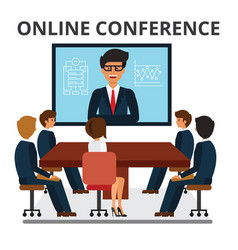 Business people meeting web conference in office vector
