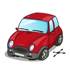 Cartoon car with a broken wheel vector image
