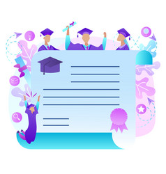 cheerful graduate students with diploma frame vector image