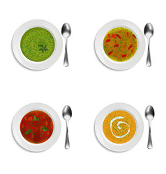 Collection of plates with soup and cream soup vector