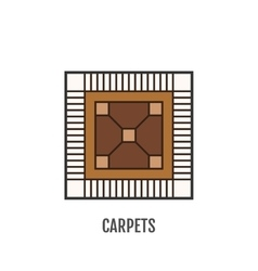 Color flat icon of carpet flooring vector