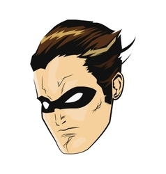 comic style male superheroe with black mask icon vector image