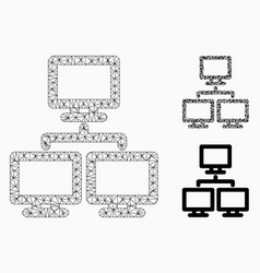 Computer network group mesh wire frame vector