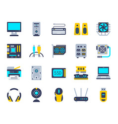 Computer simple flat color icons set vector
