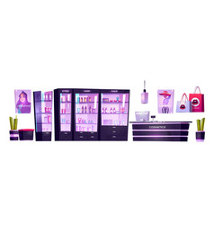 Cosmetic shop with products for makeup skincare vector