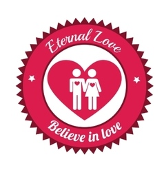 Couple believe in love eternal love sign vector