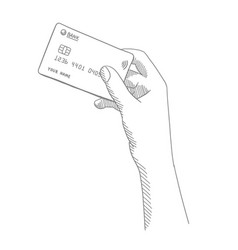 credit card in a girl hand sketch hand drawn vector image
