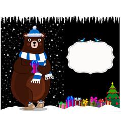 cute cartoon bear in hat on night snowy vector image