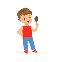 cute little boy character feeling happy with his vector image