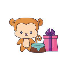 cute monkey animal bawith birthday gift vector image