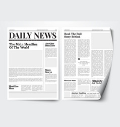 Daily news paper template with text and picture pl vector