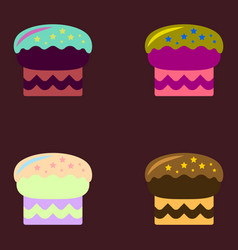 Delicious cake set icons vector