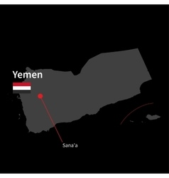 Detailed map of Yemen and capital city Sana a with vector