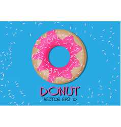 donut pink glaze on blue vector image
