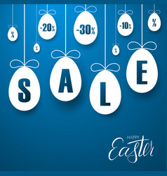 easter sale banner easter hanging eggs cartoon vector image