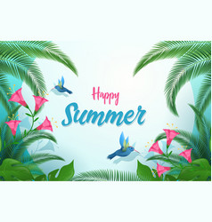 exotic summer flat banner template happy vector image