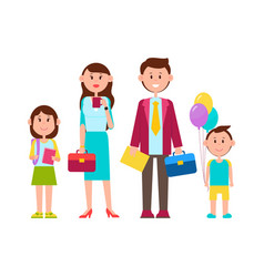family poster with happy kids vector image