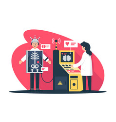 Flat young man with radiologist doctor with x-ray vector