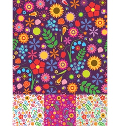 Floral seamless backgrounds vector