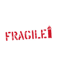 fragile this way up grunge imprint for cargo vector image