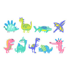 Funny cartoon dinosaurs set prehistoric animal vector
