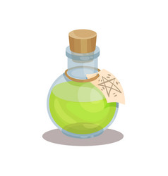 Glass bottle with magic elixir and label vector