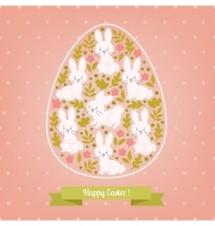 Greeting card white Easter rabbit in the egg vector image