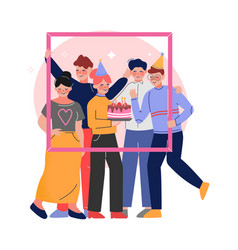 Group friends holding portrait frame teenagers vector