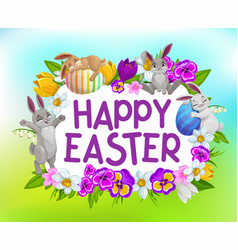 happy easter holiday frame with cartoon flowers vector image