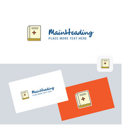 health book logotype with business card template vector image