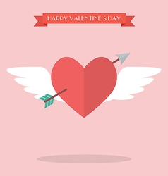 Heart flying with cupid arrow vector image