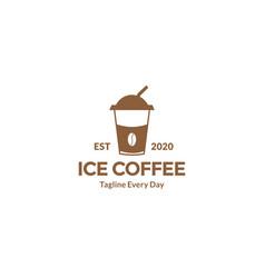 Ice coffee cup logo design vector