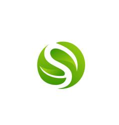 initial letter s leaf logo design vector image