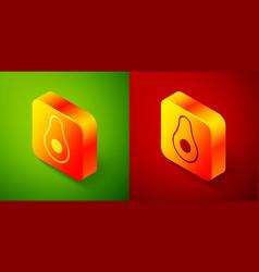 Isometric avocado fruit icon isolated on green vector