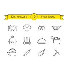 Kitchenware line icons set vector image