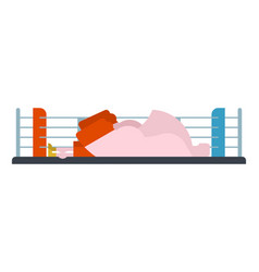 Knockout boxer in ring loser is athlete fighter vector