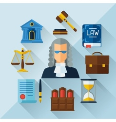 Law icons background in flat design style vector