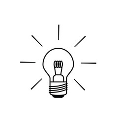 light bulb icon in black and white outlines vector image vector image