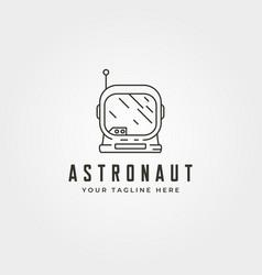 line art astronaut head logo symbol design vector image