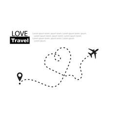 love travel travel romantic plane routes in line vector image