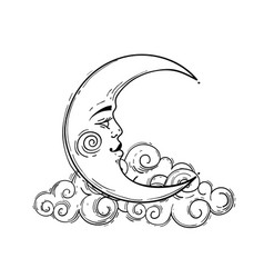Magic crescent moon with face line drawing vector