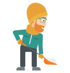 Man shoveling and removing snow vector image