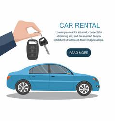 mans hand holding car keys ready for rental car vector image