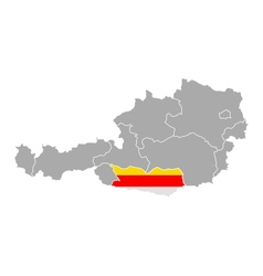 Map of Austria with flag of Carinthia vector