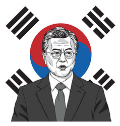 moon jae in president south korea with flag vector image
